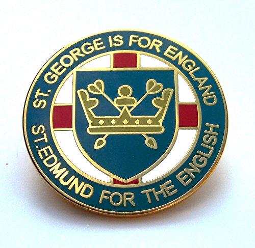 st-edmund-for-the-english-lapel-badge-blue-england-anglo-saxon-uk-seller