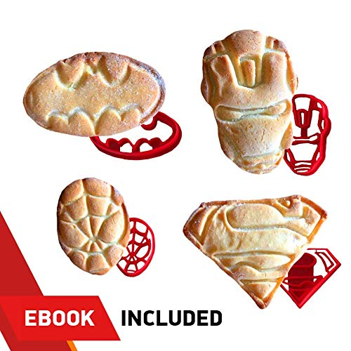 Ausstechformen 4Stück für extra Fun Backen-inklusive Ironman Superman Spiderman Batman Form. Sicher und Kunststoff-Perfekt um Cookies, Kuchen Dekorationen, Cupcake-Belag ()