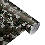 QEUhang 2 PCS Camouflage Autofolie Sticker Tarnfolie 152 X 30CM Selbstklebend Car Wrapping Auto Folie (Woodland Digital Camouflage)