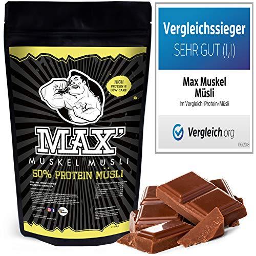 MAX MUSKEL MÜSLI Protein Müsli Low Carb ohne Zucker-Zusatz & Nüsse - Müsli wenig Kohlenhydrate viel Eiweiss Sportlernahrung für Muskelaufbau & Abnehmen 500g Beutel (Schoko) - High-protein Müsli