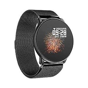 Azorex SmartWatch Multifunción Reloj Inteligente Redondo Negocio Trabajo Impermeable IP67, Pulsera Actividad Control Remoto para iPhone Xiaomi, Huawei Samsung Correa Metal Negro Q88