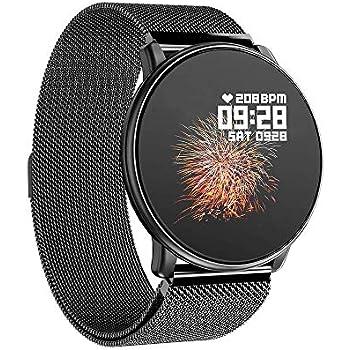 Azorex SmartWatch Multifunción Reloj Inteligente Redondo Negocio Trabajo Impermeable IP67, Pulsera Actividad Control Remoto para iPhone Xiaomi, ...