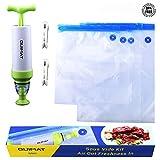 Set de sacs sous vide, Sacs pour Ier alimentaire sous vide, 8pcs Kits inclus 5pcs BPA Free Sac sous vide poches Sealed + 1Pompe à main + 2sous vide soft-sealing Clips