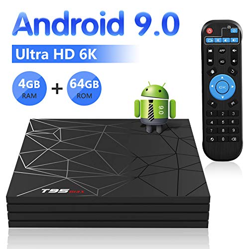 Android 9.0 TV Box, Android BOX 4GB RAM 64GB ROM H6 Quad core corex-A53 Supporto 3D 6K Ultra HD H.265 WiFi 2.4 GHz Ethernet HDMI Smart TV BOX con Remote Control