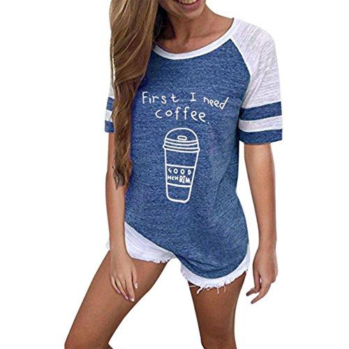VEMOW Sommer Mode Frauen Damen Mädchen Casual Täglichen Sport O Hals Kurzarm Brief Gedruckt Bluse Tops Kleidung T-Shirt T-Shirts Pullover(Blau, EU-40/CN-M)