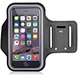 Armband for Running by Azacus | Mobile Holder for your entire jogging and exercise time | Black in colour with glowing white stripe | Both for Male and Female | Adjustable Free Size | Screen Size upto 6 inch | Hole for your Earphone or audio wire | Compatible with iPhone 7, 8, X, Samsung galaxy S9, S8, S7, One plus 5t, 5, 3t, Honor view 10, 9 lite