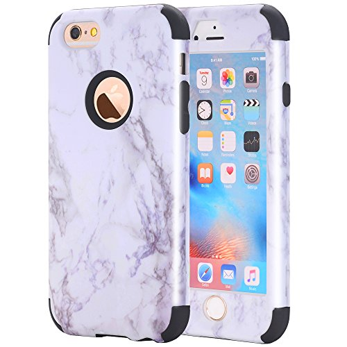 iPhone 6S/iPhone 6 Fall, nokea [Marmor Muster] Drei Schicht Hybrid Heavy Duty stoßfest Schutz Bumper Cover Silikon Combo Hart PC Case Weich Für iPhone 6S/iPhone 6, Schwarz (Iphone 6 Fall Hybrid Zebra)
