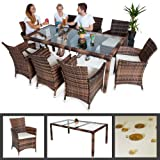 TecTake 8 Chairs + 1 Table Luxury Rattan Garden Furniture Set Outdoor Wicker with Glass brown