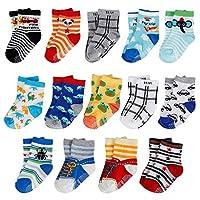 14 Pairs Anti-Slip Baby Socks Infants Kids Sock Assorted Catoon Print Cotton Socks Unisex for 1-3 Years Boys Girls