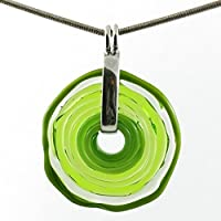 Necklace with pendant in green shades of Murano glass   Glass jewellery   exchange jewellery personalised   handmade   Unique gift for anniversary   Charming Birthday Gift   Wonderful Mother's Day gift for your wife, mother, mom or om