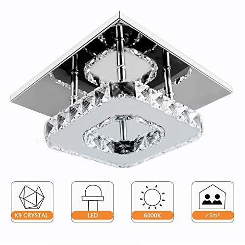 Moderne Kristall Deckenleuchte, Beautihome Square Mini Deckenleuchte Edelstahl für Schlafzimmer, Wohnzimmer und Flur (8.3x8.3Inch) -