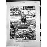 Impresión Antigua de los Bomberos 1882 del Vapor de Chatham de la Ingeniería Militar de la Escuela de los Bosquejos