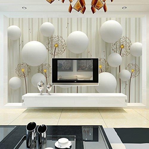 BZDHWWH Custom 3D Fototapete Modern Fashion Einfach Und Weichen Löwenzahn Betten Zimmer Sofa Hintergrund Wandbild Tapeten Für Die Wände 3D, 180 Cm (H) X 270 Cm (W) -