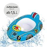 Schwimmboot Racer   Aufblasbares Kinderboot in Premium Qualität Schwimmhilfe Badehilfe Boot für Kinder ab 1,5 J. mit Lenkrad  Baby Wasser Pool Schwimmbad Badespielzeug Kleinkinder Junge Mädchen (blau)