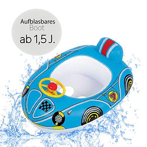 Schwimmboot Racer | Aufblasbares Kinderboot in Premium Qualität Schwimmhilfe Badehilfe Boot für Kinder ab 1,5 J. mit Lenkrad |Baby Wasser Pool Schwimmbad Badespielzeug Kleinkinder Junge Mädchen (blau)