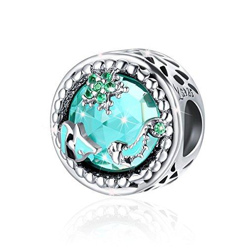 Abalorio de plata de ley con diseño de misterio océano con circonita cúbica verde para bricolaje y joyería para mujer.