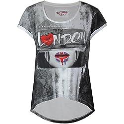 trueprodigy Casual Mujer camisetas con estampado, ropa retro vintage rock diseño moda cuello redondo (manga corta & slim fit), designer cool urban fashion t-shirt color: blanco 1063163-8005-S