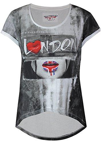 trueprodigy Cool Damen Marken T-Shirt mit Aufdruck, Oberteil cool und stylisch mit Rundhals (kurzarm & Slim Fit), Top für Frauen bedruckt Farbe: Off White 1063163-8005-M