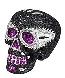 toybakery - Halloween Dekoration Deko Glitzer Skelett Totenkopf im Day of The Dead Stil, 16x14cm, Sugar Glitter Skull, ideal für Jede Halloween Party / Feier, Schwarz