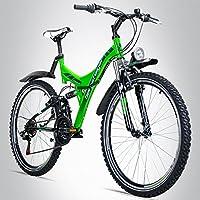Bergsteiger Memphis 26 Zoll Mountainbike, geeignet ab 150 cm, Dynamo-Licht, StVZO, Shimano 21 Gang-Schaltung, Vollfederung, Jungen-Fahrrad & Herren-Fahrrad