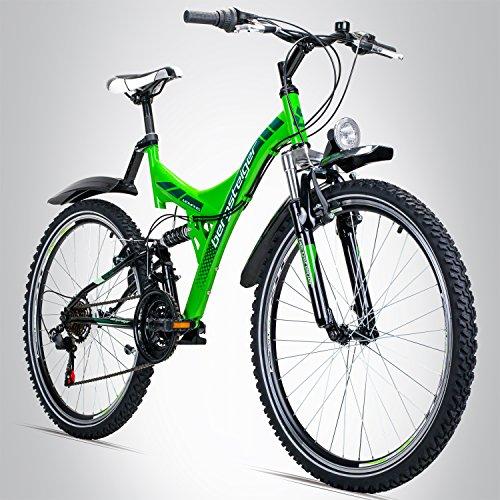 26 Zoll Mountainbike, geeignet ab 150 cm, Dynamo-Licht, StVZO, Shimano 21 Gang-Schaltung, Vollfederung, Jungen-Fahrrad & Herren-Fahrrad ()