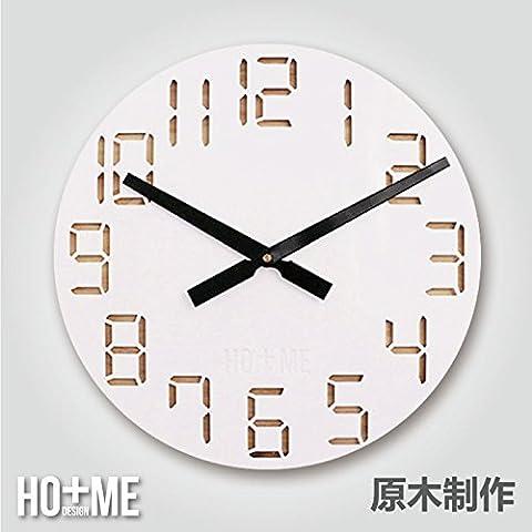 Las habitaciones relojes Reloj de pared redondo de dibujo art deco minimalista moderno personalidad creativa16pulgadas de madera real ultra silencioso
