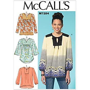 Mccalls Ladies Easy Sewing Pattern 7284 Very Loose Fitting Blouse