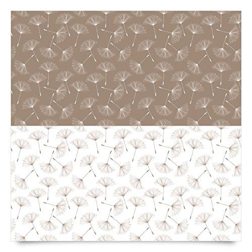 Pellicola adesiva - Dandelion pattern in mocha and polar white ...