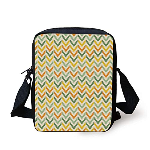 WITHY Chevron,Retro Countryside Colors Zigzags in Vertical Direction Striped Composition,Green Yellow Orange Print Kids Crossbody Messenger Bag Purse