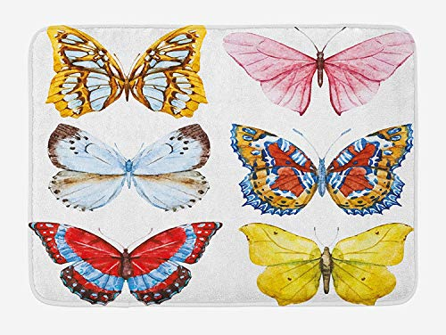 BUZRL Nature Bath Mat, Different Butterflies with Spiritual Wings Muse Mother Earth Watercolor, Plush Bathroom Decor Mat with Non Slip Backing, 23.6 W X 15.7 W inches, Multicolor