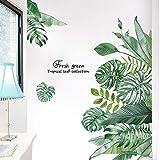 Pegatinas de Pared Planta Tropicales Vinilo Decorativo, TANOSAN Hojas Verde Adhesivos Pared de Dormitorio, Sala de Estar, Com