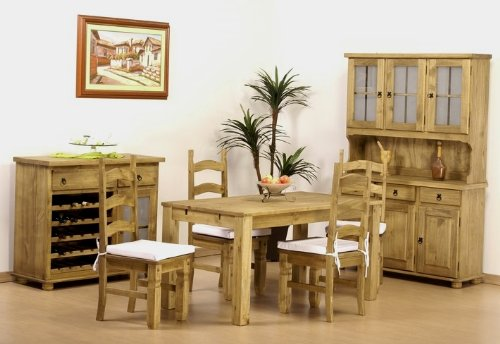 150 x 73 Table 4 chaises en pin Massif Teinte Brasil Mexique