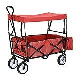 Outdoor Trolley Hand Truck Utility faltbar Garten-Trolley mit abnehmbaren Dach Schubkarre 100kg