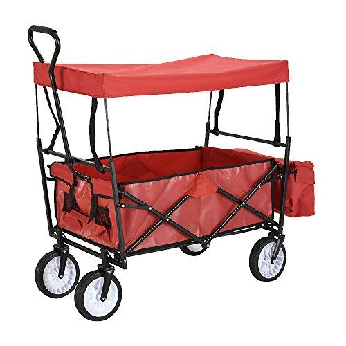 Ziehen Sie entlang Wagon Cart Garten Cart Trolley, Utility Trolley LKW Hand Cart Wagon Kreative Outdoor Trailer Transportwagen mit abnehmbarem Dach für Strand, Garten, Park, Picknick, Sport - Hand Cart