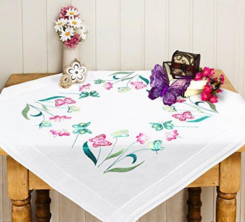 """Wunderschöne Stickpackung Tischdecke \"""" Schmetterlingsgarten \"""" - Stielstich Plattstich und Knötchenstich vorgezeichnet - Stickdecke und Stickgarn aus Baumwolle - fertig gesäumt mit eingewebtem Zierrand - qualitativ sehr hochwertig - zum Sofort-Loslegen - zum Selbersticken - aus dem KAMACA-SHOP"""