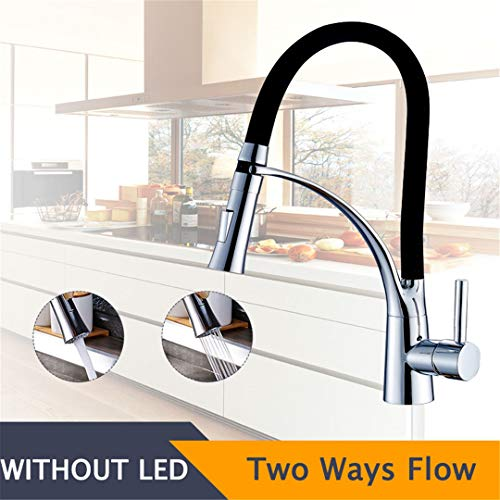 NKJGFV Schwarz LED Küchenarmatur Pull-Out 360 Umdrehung Einzelne Mischbatterie Waschbecken Wasserhahn Schwarze Gummi-Armaturen Chrome (Pull-out-körbe)