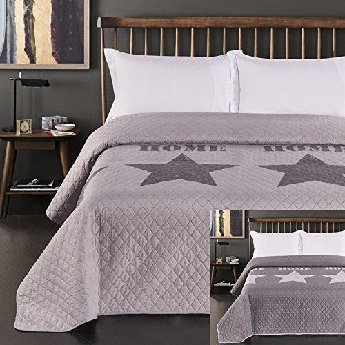 DecoKing Bettüberwurf zweiseitig Steppung Starly Tagesdecke, Polyester, Silber Stahl, 260 x 280 cm