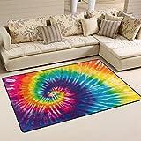 Use7 Abstrakter Regenbogen-Teppich mit Wirbelmuster, Rutschfeste Fußmatte für Kinderzimmer, Wohnzimmer, Schlafzimmer, Textil, Mehrfarbig, 100 x 150 cm(3' x 5' ft)
