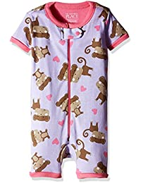 The Children's Place Girls' Short Sleeve Monkey Print Cropped Sleepsuit