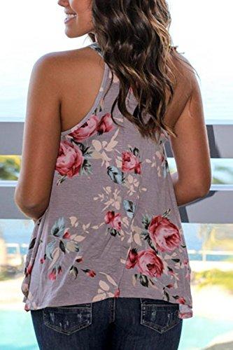 Frauen - Lässig, Locker Ärmellose Blumenmustern Sommer - T Shirt Blusen. Khaki