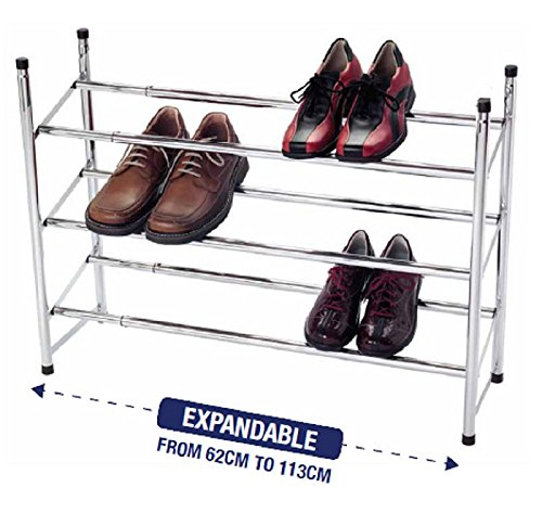 3-tier-extendable-stackable-shoe-rack-organiser-storage-metal-chrome-plated