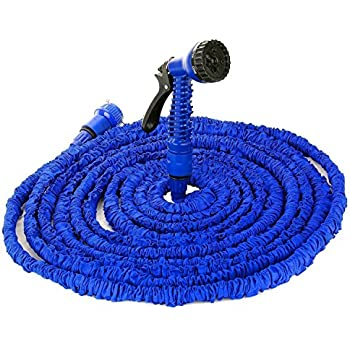 FlexiSchlauch flexibler Gartenschlauch Bewässerungsschlauch hochwertiges Wasserschlauch Set mit Brause düse DIKETE für Camping Indoor Outdoor blau 15m / 50ft - platzsparende Aufbewahrung