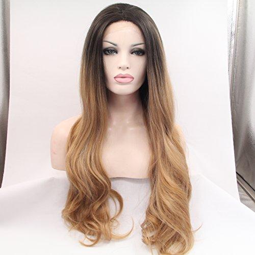 Premium Blond Marron Ombre Perruque avec racines foncées Long Naturel Courroie Wave synthétique Lace Front Perruque résistant à la chaleur Fibre Cheveux