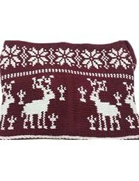 Mens/Ladies All in One Printed Knitted Thermal Ski Snood Hood Red