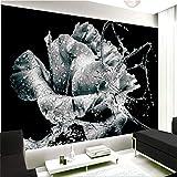HONGYAUNZHANG Schwarz Und Weiß Blume Wassertropfen Benutzerdefinierte Fototapete 3D Stereoskopischen Wandbild Wohnzimmer Schlafzimmer Sofa Hintergrund Wandbilder,170Cm (H) X 250Cm (W)