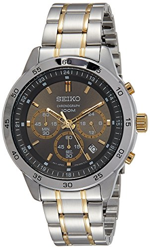 SEIKO QUARTZ GENTS CHRONOGRAPH TWO TONE BLACK DIAL BRACELET WATCH