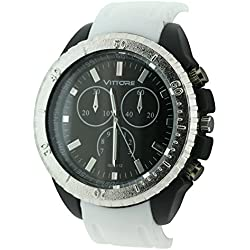 BDV Unisex Quartz Watch with Black Dial Analogue Display and White Strap BDV28/D