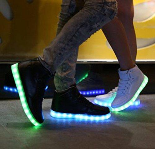 [Présents:petite serviette]JUNGLEST® Unisexe Homme Femme USB Charge LED Lumière 7 Couleur Réglable Lumineux Clignotants Chaussures de Sports Baskets LED High Top Chauss Blanc