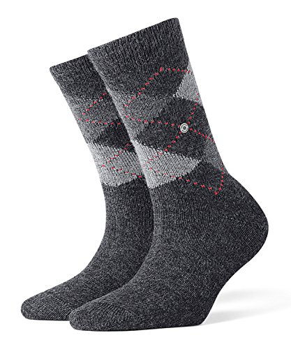 Burlington Damen Whitby klassisches Argyle Muster 1 Paar Cosy Socken, Blickdicht, Anthra.moul. (3087), 36-41