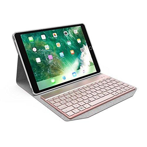 Für Apple IPad Pro 10.5 Bluetooth Tastatur mit Fall, 2-in-1 Hintergrundbeleuchtung LED Bluetooth Wireless Keyboard Leder Travel Cover Folio Portfolio Stand mit 7 Farben (Ipad 2 Portfolio-fall)